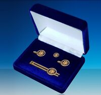 Rotary International Lapel Pin Badge, Cufflink & TieBar Set in a Velvet Gift Box