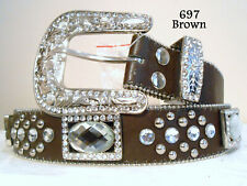 Women New Western Rhinestone Quality Bling Belt Brown Size Extra Large Only