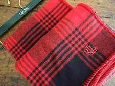RALPH LAUREN RED BLACK Lodge PLAID Monogram Brushed COTTON THROW BLANKET