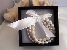 Honora Cultured Ringed Pearl SET OF 3 STRETCH  BRACELETS SMALL/AVERAGE