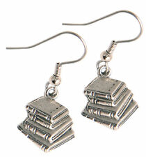 Book Earrings Silver Pewter charms teacher gift USA-made book lovers books stack