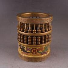 China Antiques copper Enamel hand painted dragon bat circular Abacus Decoration