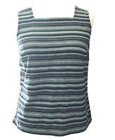Seasalt Betterrave Vest Top UK 10 Green Stripe Button Detail Back Cotton Blend