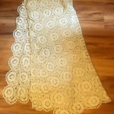Unique Vintage Crochet Lace Bed Cover Handmade Tablecloth White