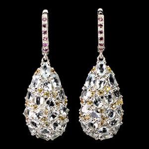 Unheated Oval Aquamarine Sapphire Diamond Cut Gems 925 Sterling Silver Earrings
