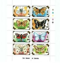 Mongolia Butterflies On Stamps - Sheet of 8 Butterfly Stamps - MNH
