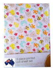 Aus Qlty Duck Owl Frog Bee Printed Baby Cot Bed 3 piece sheet set fitted/flat