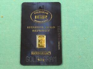 "1/2 Gram 0.5 gm .9999 Fine Gold Istanbul Refinery ""Prepper"" Bar Mint Sealed!"
