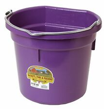 Little Giant Flat Back Bucket Heavy Duty Plastic Wire Notch Handle 20qt. Purple