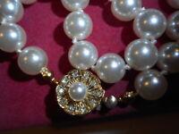 Vintage 8mm Majorca Pearl BRACELET w/ Rhinestone Pearl Clasp Mint Unused