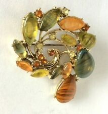 Vintage Brooch Autumn Colours Rhinestones Swirl Gilded setting  by Exquisite