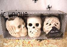 Bella Lux Halloween Skull  Hear Speak See No Evil 3 pc Candle Holders Decor
