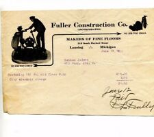 Vintage Illustrated  Billhead FULLER CONSTRUCTION CO FINE FLOORS Lansing MI 1920