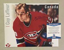 Guy LaFleur Signed 8x10 Photo Autographed AUTO Beckett BAS COA Canadiens