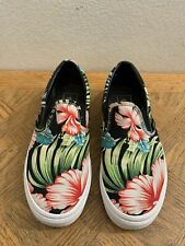 Vans Slip-On Shoes Hawaiian Floral Print Black Size Men's 5.5 Women's 7
