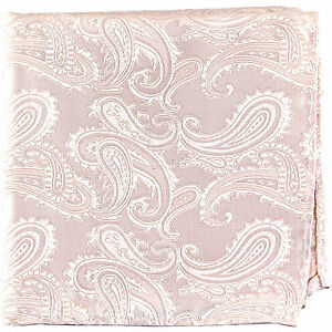 New Brand Q Men's micro fiber Pocket Square Hankie Only paisley peach formal