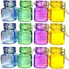 12 x Multicolor Mini cierre de clip CRISTAL Especias Almacenamiento tarros Juego
