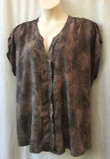 Sara Size 3XL 26 + Blouse Top Cap Slv Animal Print Work Casual Evening Party