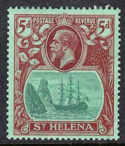 ST HELENA 1922-37 SG103var 5d GREEN & DEEP CARMINE EXTENDED BEARD MAJOR FLAW MM