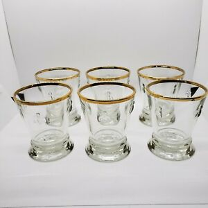 Six La Rochere Paris Musees Bee Glasses Tumblers Gold Trim 10 Ounce France