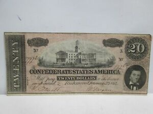 1864 CONFEDERATE STATES $20 LARGE NOTE