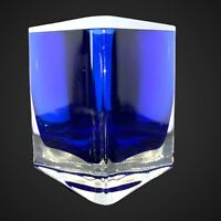 Vintage GORGEOUS DESIGNS Art Glass Blown Glass Vase Cobalt Blue Triangular 3.25""