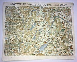 SWITZERLAND 1568 SEBASTIAN MUNSTER LARGE UNUSUAL ANTIQUE MAP 16TH CENTURY