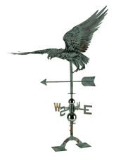 Zeckos Verdigris Patina Metal Flying Eagle Weather Vane with Roof Mount