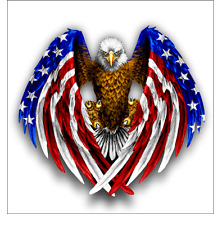 Bald Eagle USA American Flag Sticker for Cars Laptops and Trucks Window Decal
