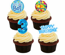 3rd Birthday Boy - Blue Edible Cupcake Toppers, Stand-up Fairy Cake Decorations