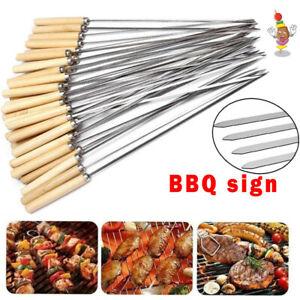 5-100X BBQ Skewers Stainless Steel Flat Metal Camping Grill Needle Kebab Sticks