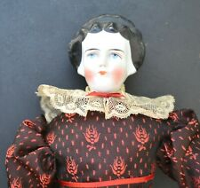 German Antique Doll - China Head/Shoulders -Great Hair!- Leather Hands-1800''s
