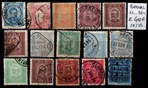 Lot PORTUGAL : Timbres entre n°61 et 76a, Oblitérés / Neufs * = Cote 400 €