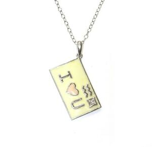 925 Sterling Silver .01ct SI2G diamond I Love U postcard pendant necklace 3.3g ,