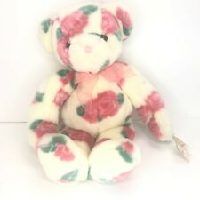 New Vintage Mary Meyer Plush Teddy Bear with Pink Roses 1998 Stuffed Animal 18""