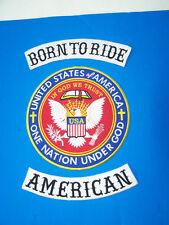 Live to ride American biker Patch set In God We Trust One Nation Under God