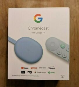 Google Chromecast (2020) with Google TV and Voice Remote - Sky blue