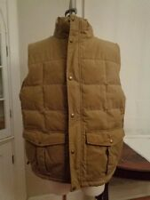 L.L.BEAN 100% cotton canvas goose down vest men's size L Reg zip and snap