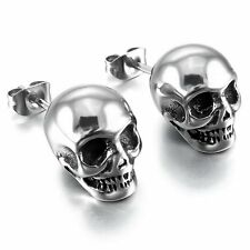 MENDINO Men's 316L Stainless Steel Stud Earrings Skull Gothic Biker Silber Tone