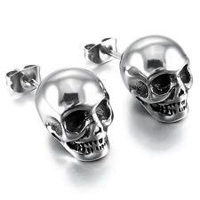 MENDINO Men's 316L Stainless Steel Stud Earrings Skull Gothic Biker Silber Tone