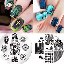 2Pcs Nail Art Stamping Plates Image Stamp Templates Halloween Ocean Born Pretty