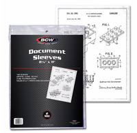 "(100) BCW Document Sleeves 8 1/2"" x 11"" For Archival Protection and Storage"