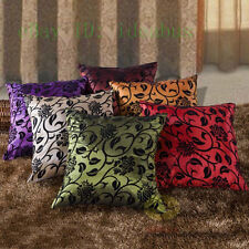 Home Decor Sofa  Square Raised Flocked Blossom Satin Cushion Cover/Pillow case