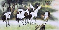 STUNNING ORIENTAL FAMOUS ASIAN ART CHINESE PAINTING-Crane birds lover