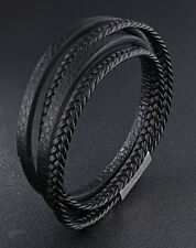 Mens Stainless Steel Multilayer Braided Rope Leather Bangle Bracelet + Box #B345