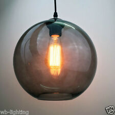 Antique Vintage Industrial Black Grey Glass Shade Pendant Lamp Ceiling Light Bar