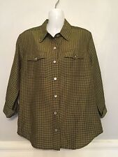 CHICO'S DESIGN 100% SILK BLACK AND GREEN BUTTON FRONT, 3/4 SLEEVE SZ 0