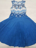 Ladies KLASS Fit & Flare Maxi Dress Size 14 Blue Damask Print Sleeveless Summer