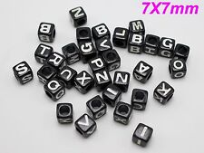 200 Black with White Assorted Alphabet Letter Cube Pony Beads 7X7mm for Craft
