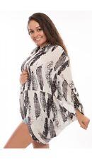Feather Print Viscose Cocoon Kimonos Cardigan Shrug Cover Up Casual Beach Pool